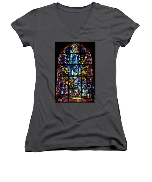 Sainte-mere-eglise Paratrooper Tribute Stained Glass Window Women's V-Neck (Athletic Fit)