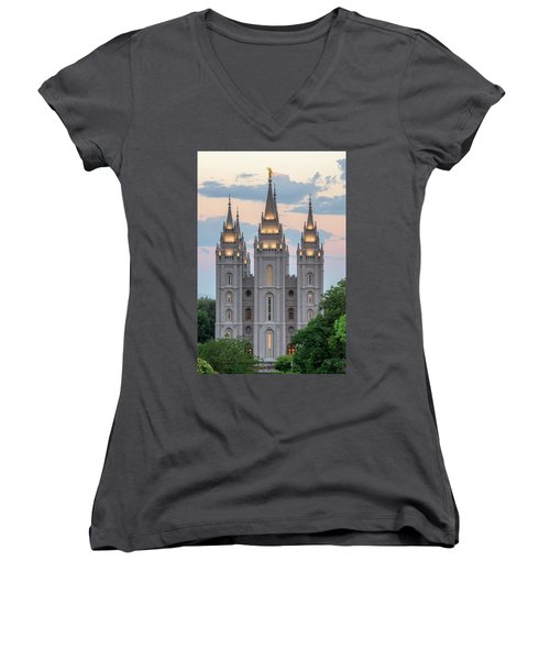 Salt Lake City Temple Morning Women's V-Neck
