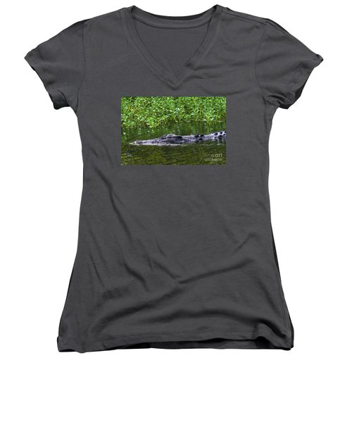 Saltwater Crocodile In Kakadu Women's V-Neck (Athletic Fit)