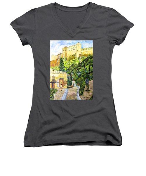 Saltzburg Women's V-Neck T-Shirt (Junior Cut) by Michael Daniels