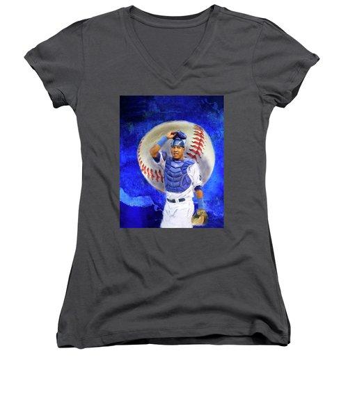 Women's V-Neck T-Shirt (Junior Cut) featuring the mixed media Salvador Perez-kc Royals by Colleen Taylor