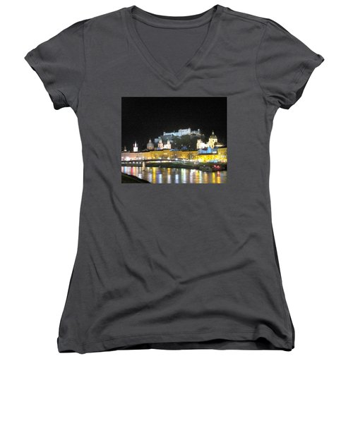 Salzburg At Night Women's V-Neck T-Shirt (Junior Cut) by Betty Buller Whitehead