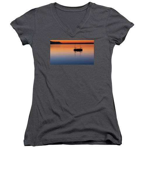 Samish Sea Sunset Women's V-Neck T-Shirt (Junior Cut) by Tony Locke