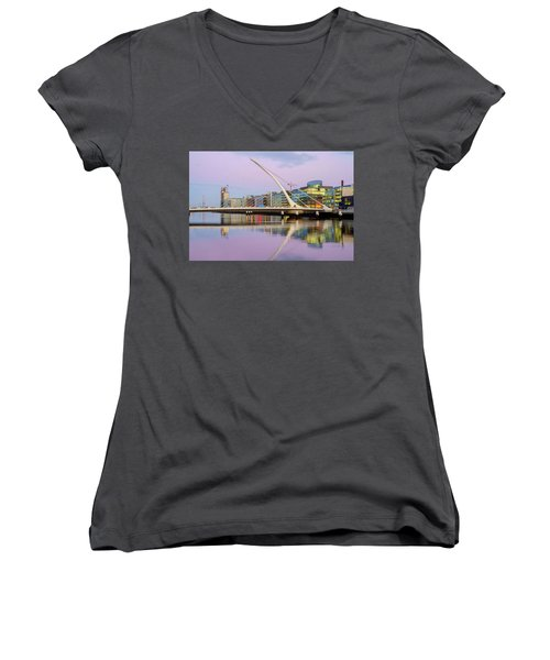 Samuel Beckett Bridge At Dusk Women's V-Neck (Athletic Fit)