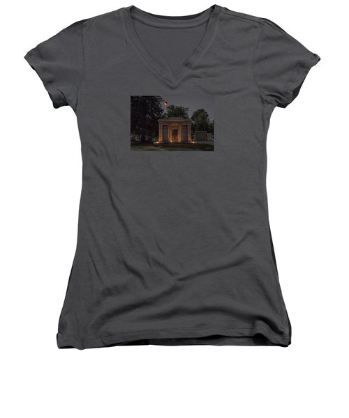 Samuel D. Nicholson Mausoleum Under The Blood Moon Women's V-Neck T-Shirt (Junior Cut) by Stephen  Johnson