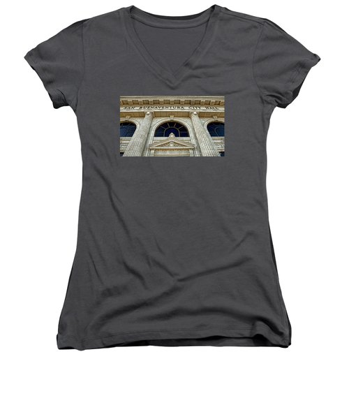 San Buenaventura City Hall Women's V-Neck T-Shirt (Junior Cut) by John A Rodriguez