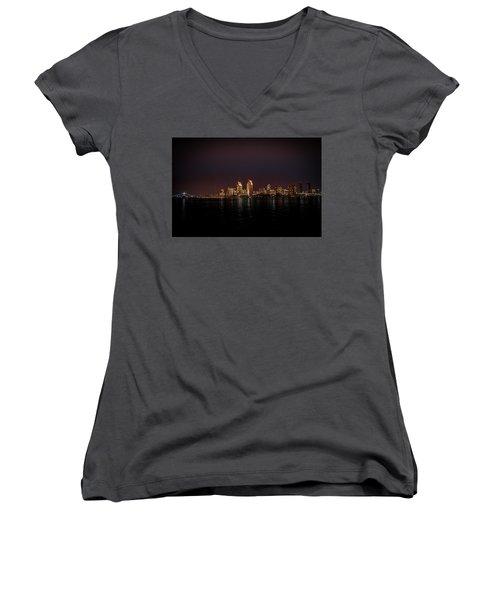 Women's V-Neck T-Shirt (Junior Cut) featuring the photograph San Diego Harbor by John Johnson