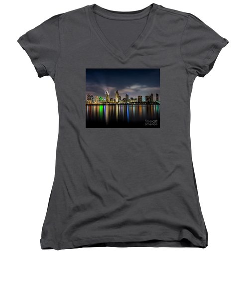 San Diego Skyline At Night Women's V-Neck (Athletic Fit)