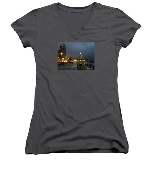 Women's V-Neck T-Shirt (Junior Cut) featuring the photograph San Francisco Bay At Night by Haleh Mahbod