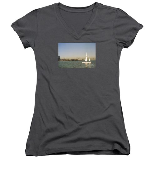 San Francisco Bay Sail Boat Women's V-Neck T-Shirt