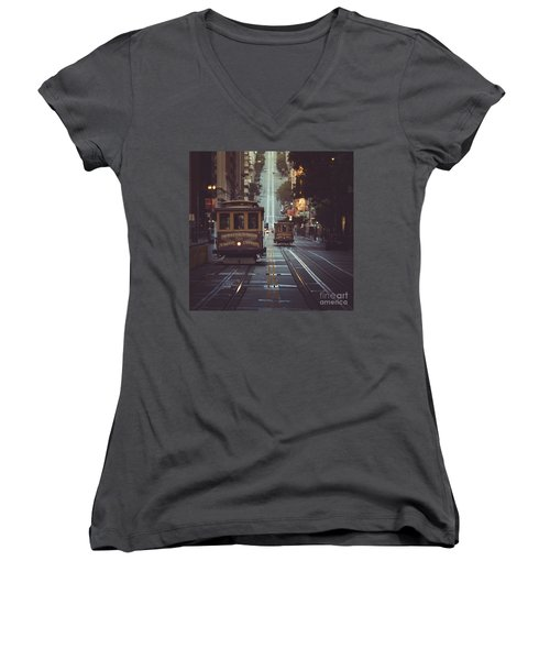San Francisco Women's V-Neck T-Shirt (Junior Cut) by JR Photography