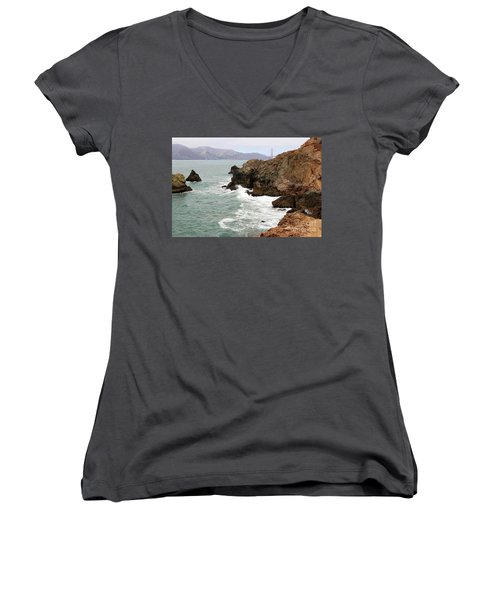 San Francisco Lands End Women's V-Neck T-Shirt (Junior Cut) by Cheryl Del Toro