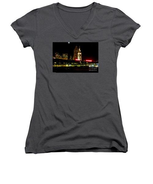 San Francisco Nights Women's V-Neck T-Shirt (Junior Cut) by Mitch Shindelbower