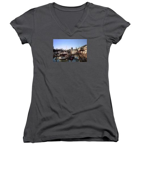 San Francisco Pier And Boats Women's V-Neck T-Shirt