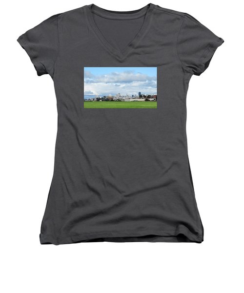 San Francisco Skyline From Crissy Field Women's V-Neck T-Shirt (Junior Cut) by Mark Barclay