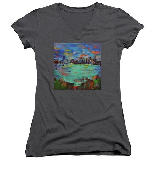 San Francisco Skyline In Sunset Women's V-Neck T-Shirt