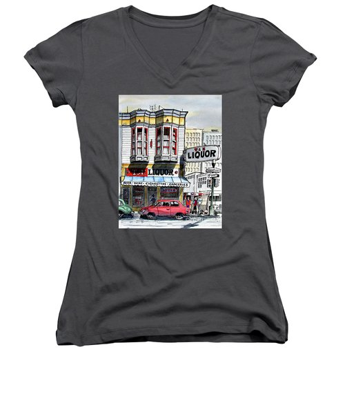 Women's V-Neck T-Shirt (Junior Cut) featuring the painting San Francisco Street Corner by Terry Banderas