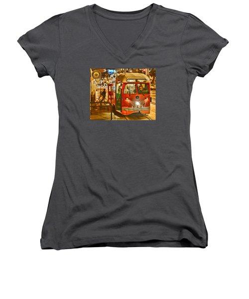 Women's V-Neck T-Shirt (Junior Cut) featuring the photograph San Francisco's Ferry Terminal by Steve Siri