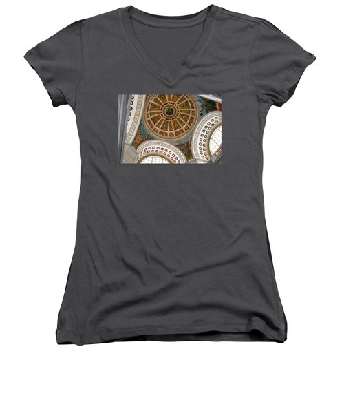 Women's V-Neck T-Shirt (Junior Cut) featuring the photograph San Juan Capital Building Ceiling by Lois Lepisto