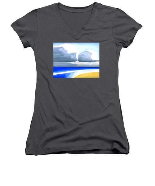San Juan Cloudscpe Women's V-Neck T-Shirt (Junior Cut) by Dick Sauer