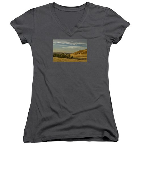 San Luis Reservoir 9891 Women's V-Neck T-Shirt (Junior Cut) by Tom Kelly