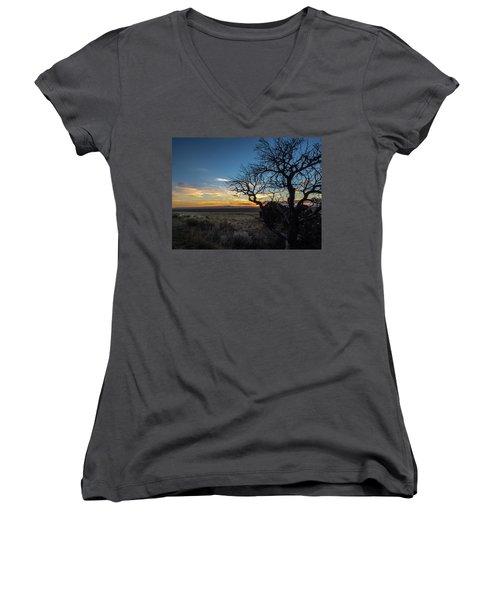 San Luis Valley Sunset - Colorado Women's V-Neck