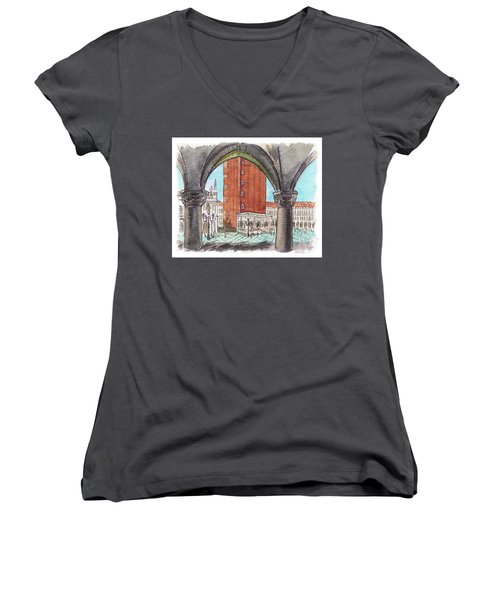 Women's V-Neck T-Shirt featuring the painting San Marcos Square Venice Italy by Irina Sztukowski