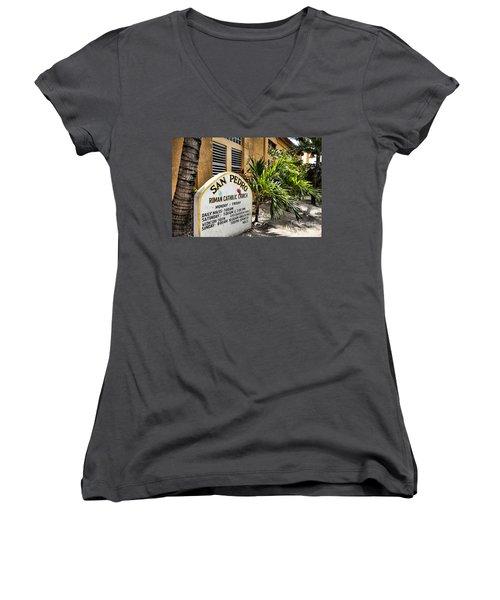 San Pedro Roman Catholic Church Women's V-Neck T-Shirt (Junior Cut) by Lawrence Burry