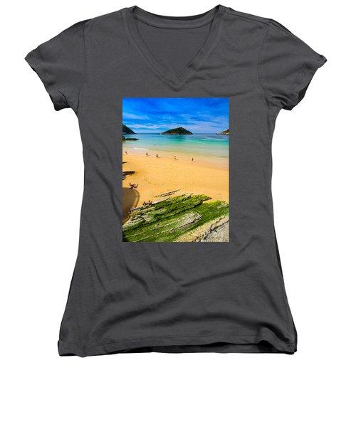 San Sebastian Summer Women's V-Neck T-Shirt (Junior Cut) by Mariusz Czajkowski