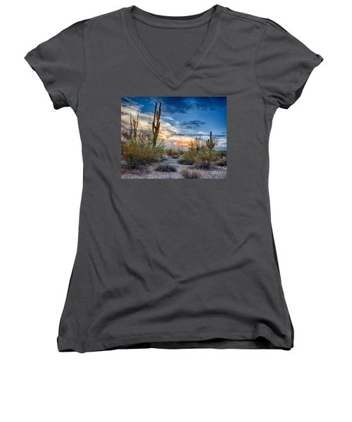 San Tan Mountain Park Sunset Women's V-Neck T-Shirt
