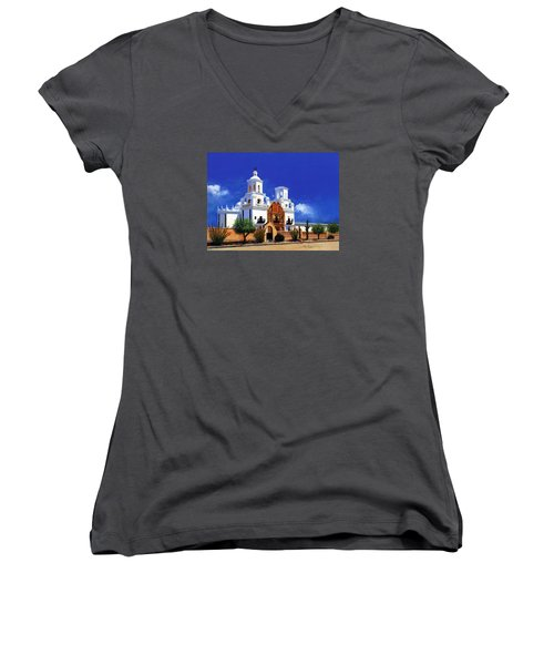 San Xavier Del Bac Mission Women's V-Neck T-Shirt (Junior Cut) by M Diane Bonaparte