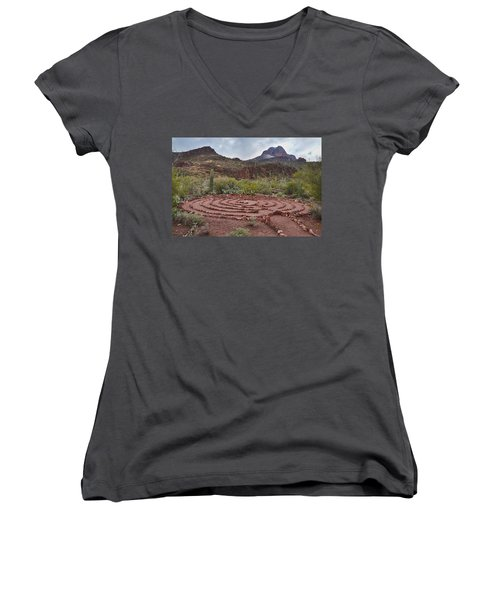 Women's V-Neck T-Shirt (Junior Cut) featuring the photograph Sanctuary Cove Labyrinth by Donna Greene