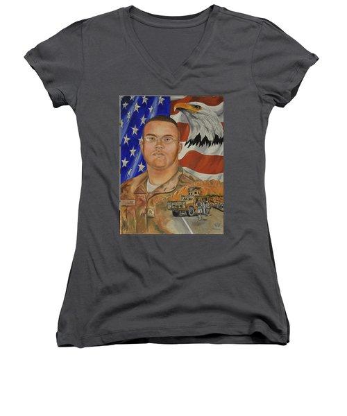 Sand Dune Tragedy Women's V-Neck T-Shirt (Junior Cut) by Ken Pridgeon