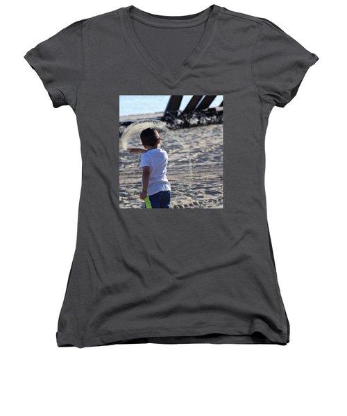 Sand Rainbow Women's V-Neck T-Shirt (Junior Cut) by John Glass