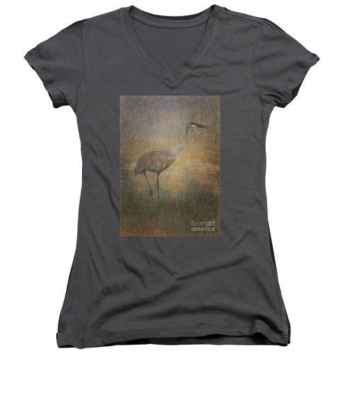 Sandhill Crane Watercolor Women's V-Neck T-Shirt (Junior Cut) by Janice Rae Pariza