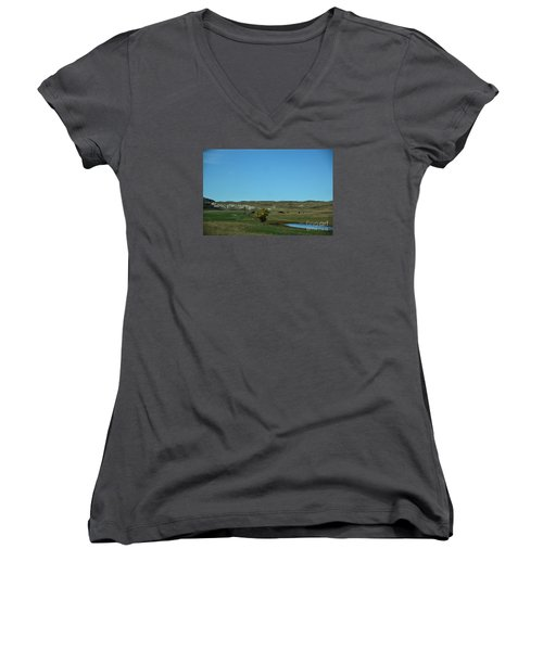 Sandhills Ranch Women's V-Neck T-Shirt (Junior Cut) by Mark McReynolds