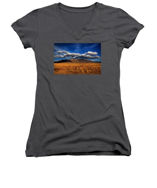 Sandia Crest In Late Afternoon Light Women's V-Neck T-Shirt (Junior Cut) by Alan Vance Ley