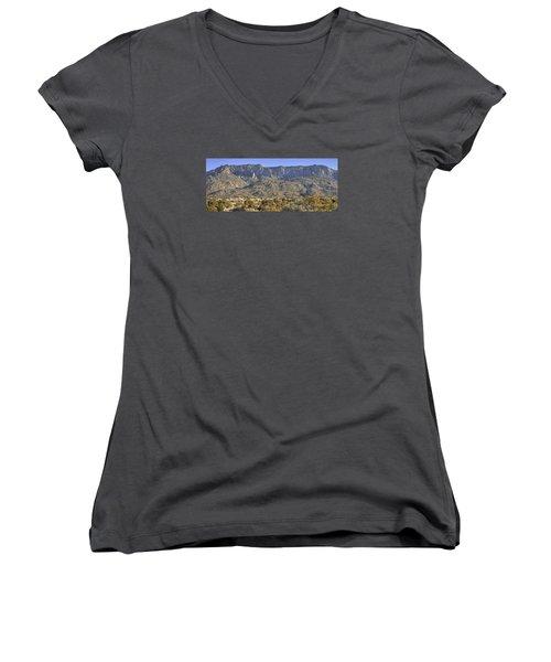 Sandia Mountain Panorama Women's V-Neck T-Shirt (Junior Cut) by Alan Toepfer