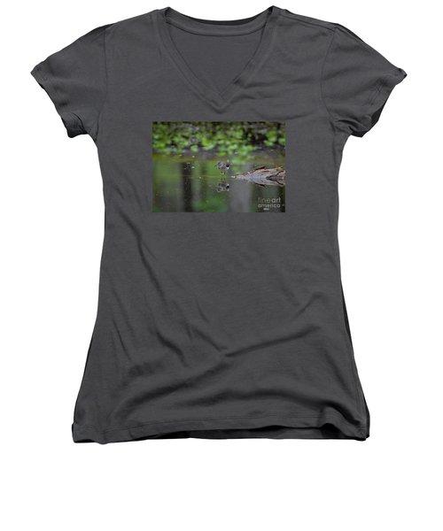 Sandpiper In The Smokies Women's V-Neck T-Shirt (Junior Cut) by Douglas Stucky