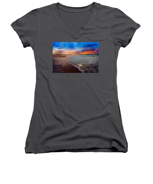 Sandpiper Sunrise Women's V-Neck T-Shirt (Junior Cut) by Betsy Knapp