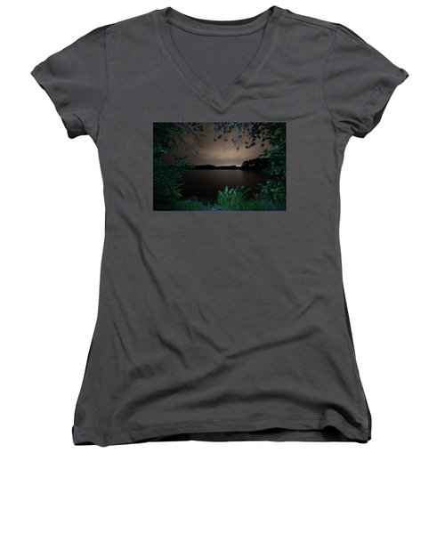 Women's V-Neck featuring the photograph Sandra Pond At Night 2 by Brian Hale