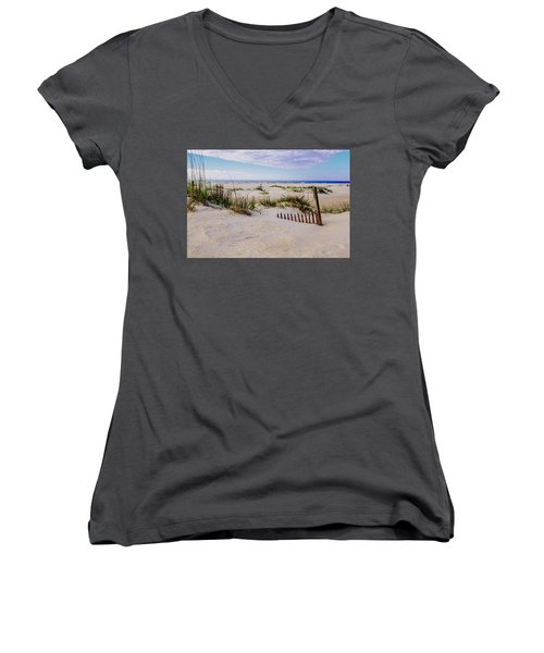 Sand  Fences On The Bogue Banks 2 Women's V-Neck T-Shirt (Junior Cut) by John Harding