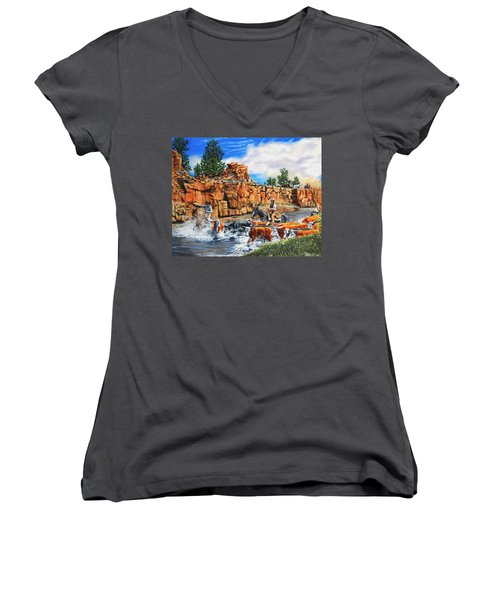 Sandstone Crossing Women's V-Neck T-Shirt (Junior Cut) by Ruanna Sion Shadd a'Dann'l