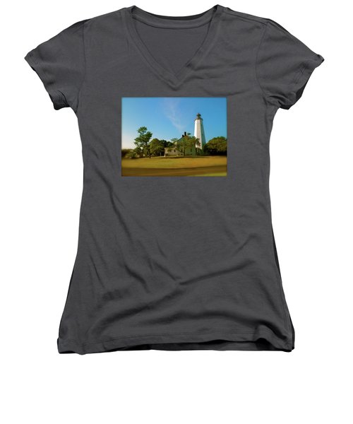 Sandy Hook Lighthouse Women's V-Neck T-Shirt (Junior Cut) by Iconic Images Art Gallery David Pucciarelli