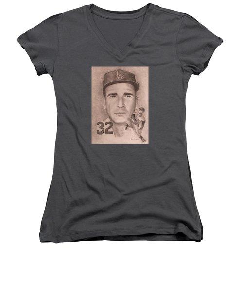 Sandy Koufax Women's V-Neck T-Shirt (Junior Cut) by Jack Skinner