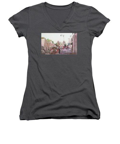Sanfransisco Street Women's V-Neck T-Shirt (Junior Cut) by Becky Kim