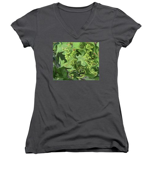 Sanibel Seagrapes Women's V-Neck T-Shirt (Junior Cut) by Melinda Saminski