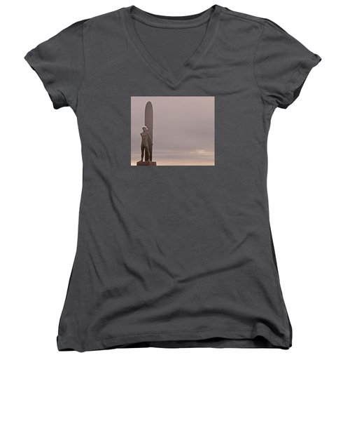 Santa Cruz Santa Surfer  Women's V-Neck T-Shirt (Junior Cut) by Lora Lee Chapman