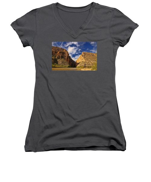 Santa Elena Canyon 3 Women's V-Neck T-Shirt (Junior Cut) by Judy Vincent