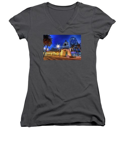 Santa Fe At Night Women's V-Neck (Athletic Fit)